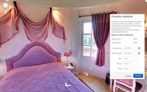 Exemple de réservation d'une chambre dans Google Street View